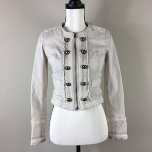 WHBM Cream Cropped Band Military Zip Jacket sz 00
